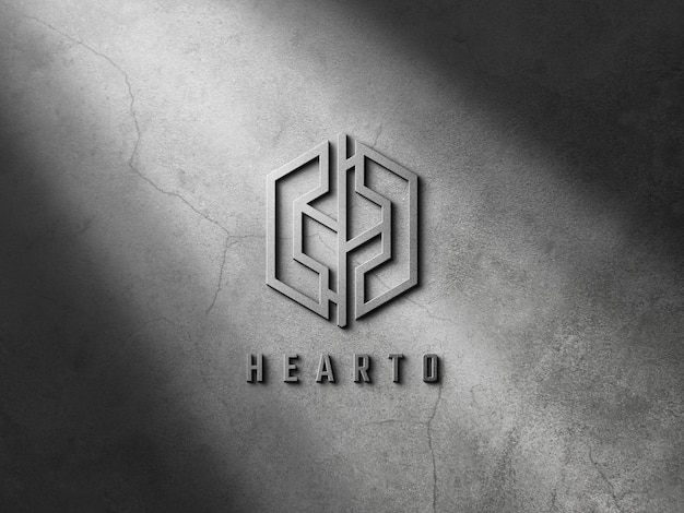 3d logo mockup on wall with embossed effect