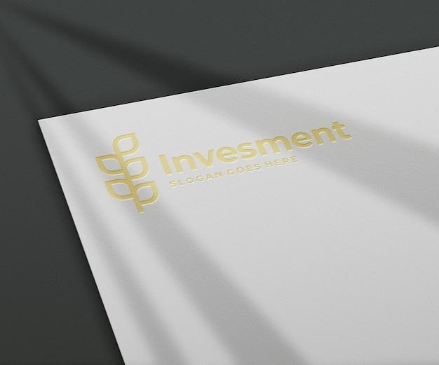 3d logo mockup on white paper