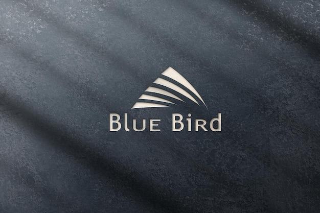 시멘트 질감 파란색 3d 로고 모형