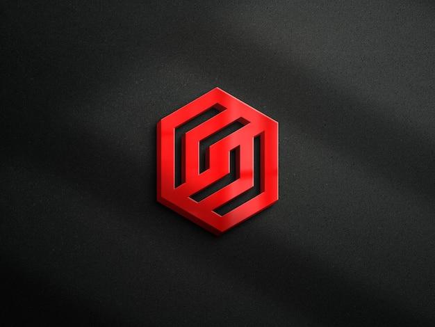 暗い壁の背景と3dロゴのモックアップ