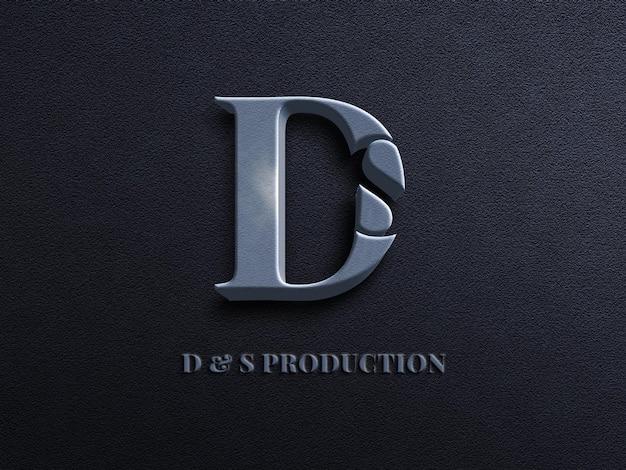 3d-макет логотипа с текстовым эффектом emboss на темно-синем стенном бетонном фоне
