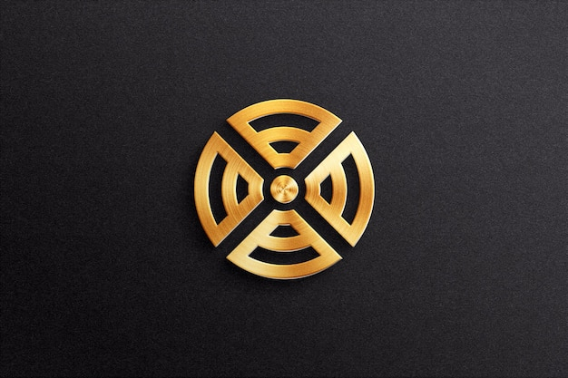 3d logo mockup with metal effect on textured paper