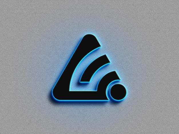 3d logo mockup with neon effect
