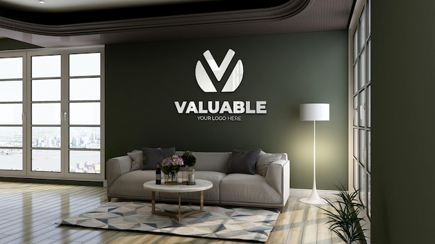 3d logo mockup with reflection logo in green wall at office lobby waiting room for relax