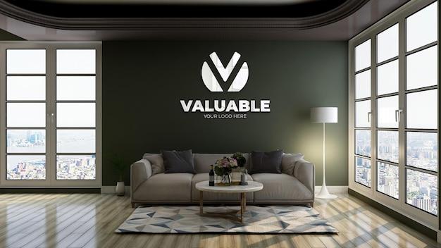 3d-макет логотипа с отражающим логотипом в зеленой стене в зале ожидания в вестибюле офиса для отдыха