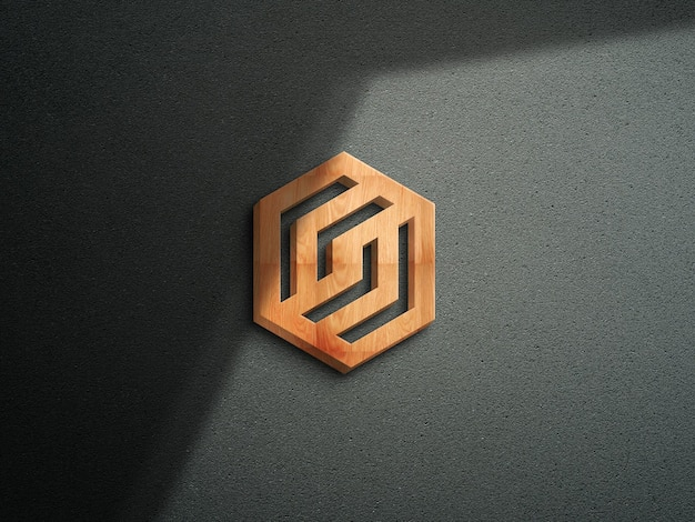3d logo mockup with wooden effect 4k resolution