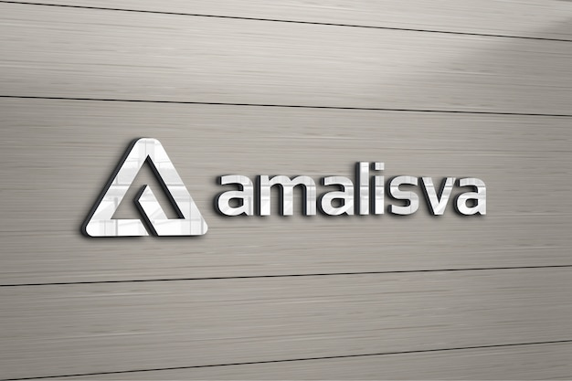 3d logo mockup with wooden wall