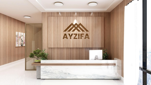 3d logo mockup on wooden receptionist office