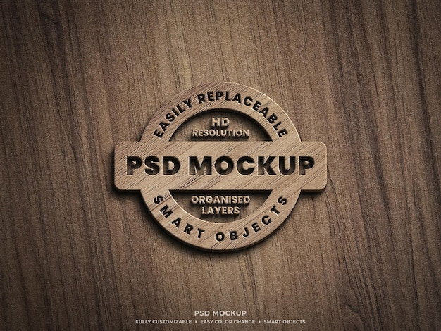 3d logo mockup on wooden surface