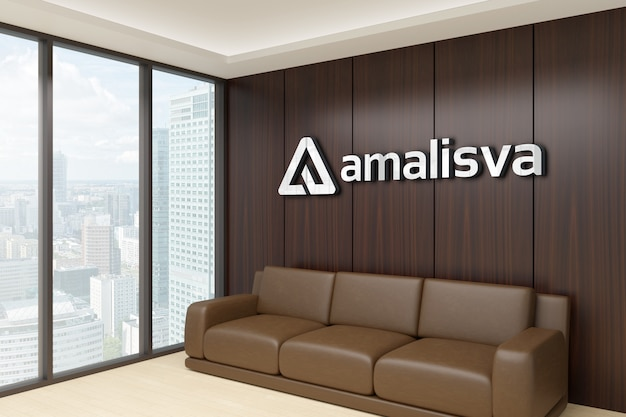 3d logo mockup on a wooden wall in a room