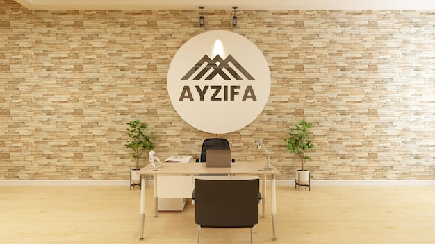 3d logo mockup on wooden wall