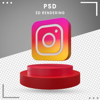 3d logo rotated icon instagram isolated