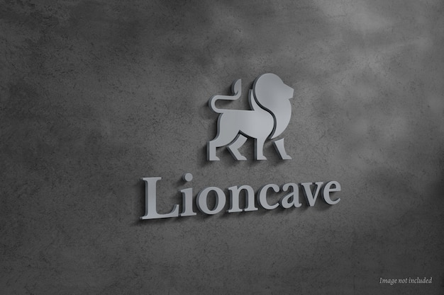 3d logo and sign mockup on concrete wall