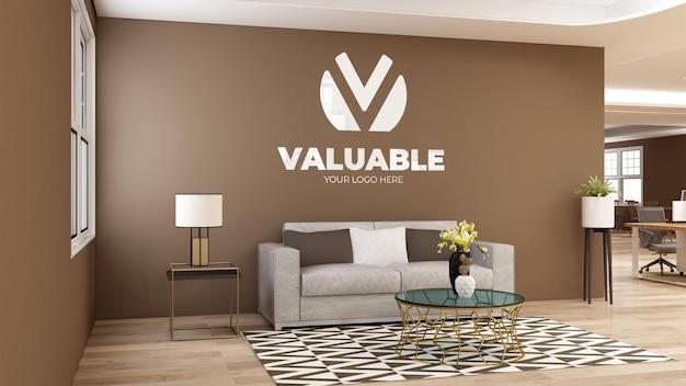 3d-макет стены с логотипом в зале ожидания современного офиса