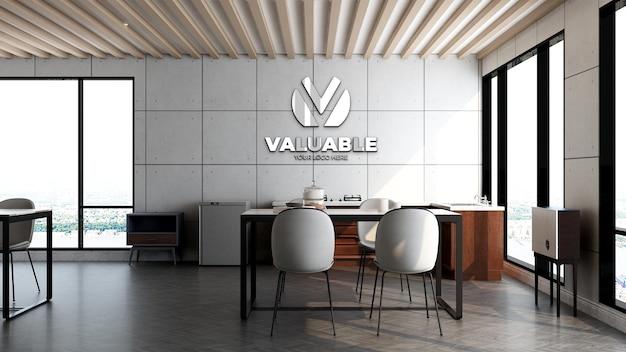工業デザインのインテリアとオフィスのレストランの部屋やパントリーエリアの3dロゴの壁のモックアップ
