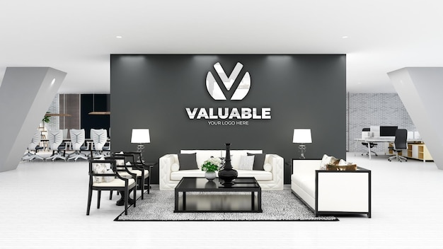 3d logo wall mockup in office waiting room