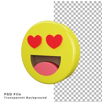 3d love eyes emoticon icon high quality render psd files