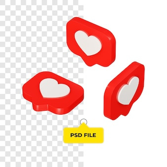 3d love icon all side