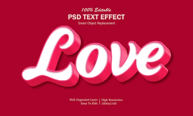 3d love text effect