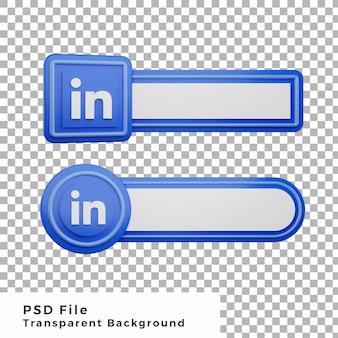 3d 하위 세 번째 링크드인 로고 소셜 미디어 아이콘 번들 다양한 모양 고품질