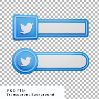 3d 낮은 세 번째 트위터 로고 소셜 미디어 아이콘 번들 다양한 모양 고품질