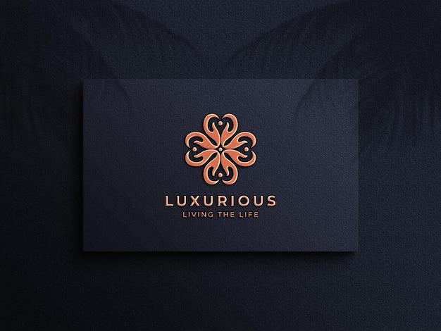 3d luxury embossed copper foil logo mockup on business card