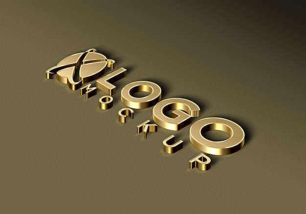 3d luxury golden logo mockup