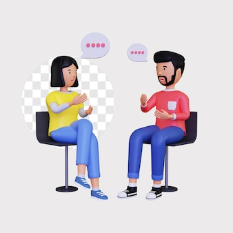 3d 남성과 여성 캐릭터가 의자에 앉아 대화를 나누고 있습니다