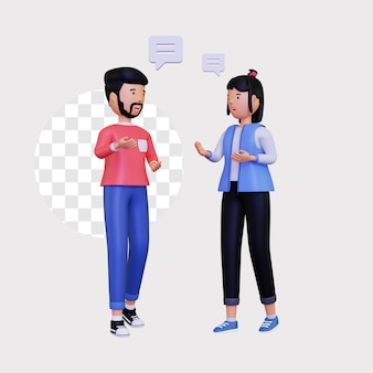 3d 남성과 여성 캐릭터가 대화를 나누고 있습니다