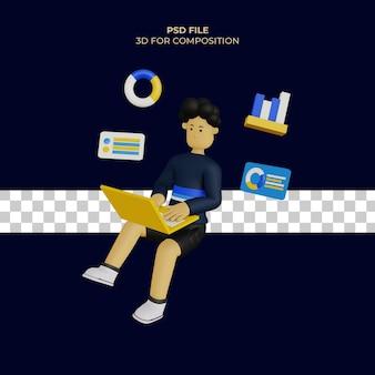 3d мужской мультипликационный персонаж использует ноутбук, и есть значок диаграммы psd