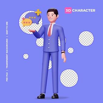 투명한 배경을 가진 3d 남성 캐릭터와 거품 채팅