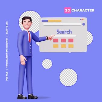 透明な背景を持つ3d男性キャラクターと検索エンジン