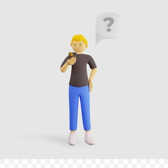 3d мужской персонаж мультфильма держит телефон с вопросительным знаком