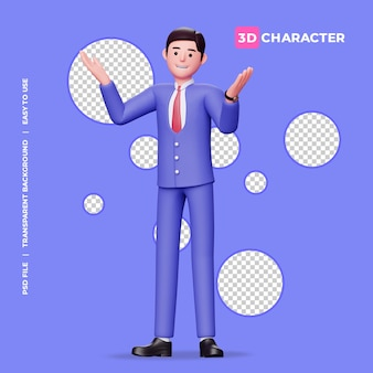 3d мужской персонаж делает позу без идеи с прозрачным фоном