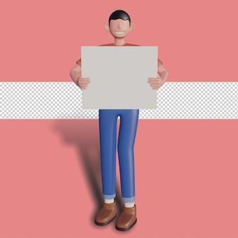 プレーンボードを保持している3d男性キャラクター。プレミアムpsd