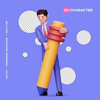 3d мужской персонаж держит большой карандаш с прозрачным фоном