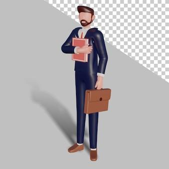 서류 가방 및 책을 들고 3d 남성 캐릭터입니다. 프리미엄 PSD 파일