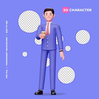 3d male character holding cup of coffee with transparent background