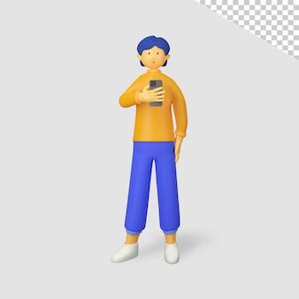 3d мужской персонаж держит телефон