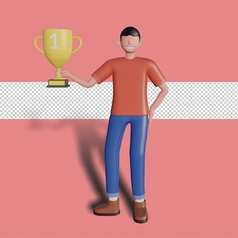 3d male character holding a trophy. premium psd