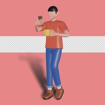 3d 남성 캐릭터가 스마트폰을 열고 컵을 들고 있습니다. 프리미엄 psd