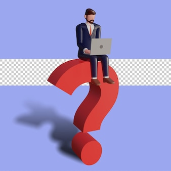 3d male character is typing and sitting on a question mark.