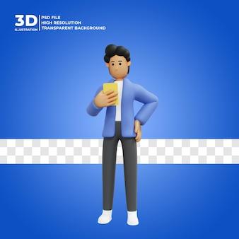 3d 남성 캐릭터가 프리미엄 psd를 채팅하기 위해 휴대폰을 사용하고 있습니다.