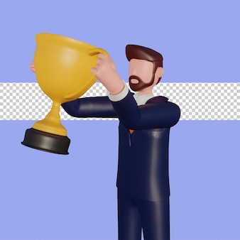 3d male character lifting the winning trophy.