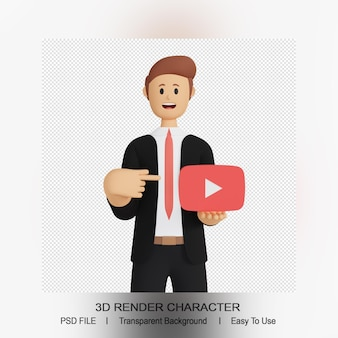 Youtube 로고를 가리키는 3d 남성 캐릭터