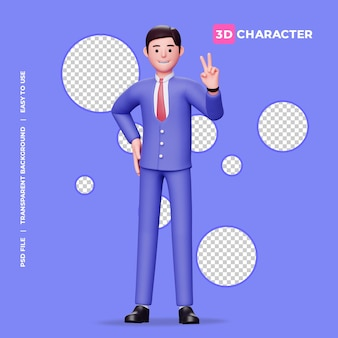 透明な背景と平和のサインを示す3d男性キャラクター