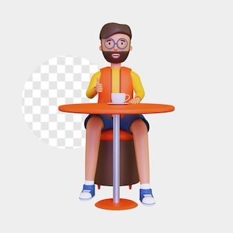 カップでコーヒーを楽しんで座っている3d男性キャラクター