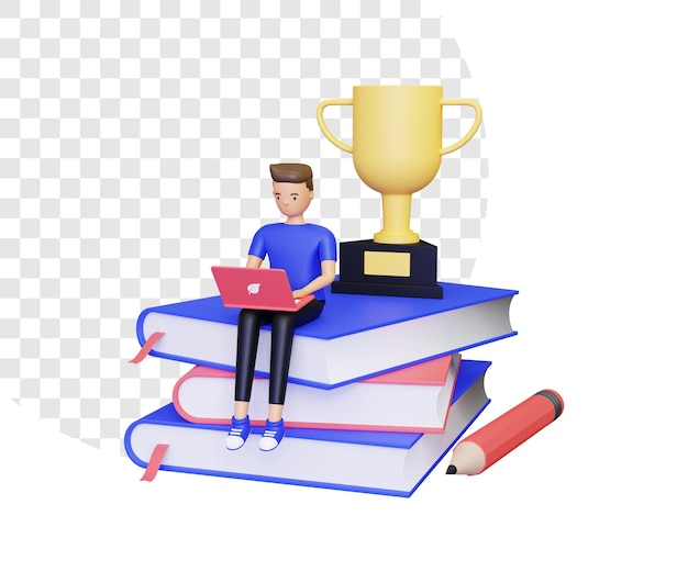 3d male character sitting studying on a pile of books