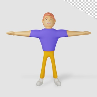 3d male character spread hands