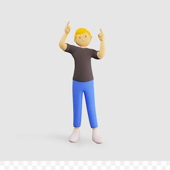 3d мужской персонаж с позой, проведите пальцем вверх и направив вверх